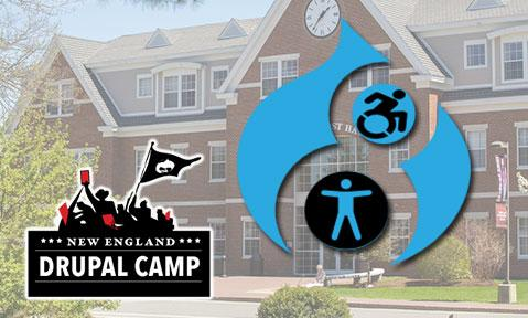 NEDcamp logo with a Drupal and accessibility logo